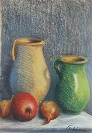 Sale 8813 - Lot 504 - Desiderius Orban (1884 - 1986) - Still Life with Jugs, Onions and Fruit 33 x 24cm