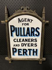 Sale 9092 - Lot 1024 - Timber framed vintage enamel PULLARS sign (h:63 x w:48cm