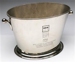 Sale 9173 - Lot 27 - A 2012 ARIA wine awards chrome champagne bucket (H: 24cm W: 34cm)
