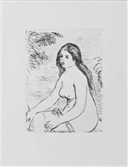 Sale 8330A - Lot 18 - Pierre Auguste Renoir (1841 - 1919) - Femme Nue Assise 18.5 x 14cm