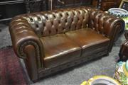 Sale 8345 - Lot 1053 - Brown Buttoned Leather 2 Seater Chesterfield Lounge