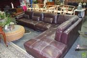 Sale 8390 - Lot 1302 - Dark Brown Leather Modular Three Piece Lounge