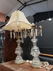 Sale 8962 - Lot 1014 - Pair of Cut Glass Table Lamps (H:63cm)