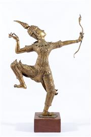 Sale 9010 - Lot 51 - Thai Gilded Metal Sculpture of Prince Rama with Bow H:52cm