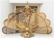 Sale 9066H - Lot 40 - An elegant brass folding fire screen. H 68cm W (extended) 96cm