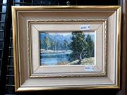 Sale 9061 - Lot 2031 - Henry Dunne Landscape with River, 1970, oil on canvas board, frame: 20 x 25 cm, signed and dated lower right