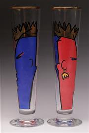Sale 9078 - Lot 174 - A Pair of Handpainted Ritzenhoff Ambrogio Pozzi Champagne Flutes (H 25cm)