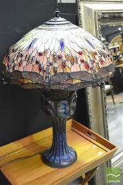 Sale 8398 - Lot 1009 - Impressive Metal Based Lamp w Leadlight Shade