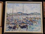 Sale 8417T - Lot 2014 - Marion Purvis - Boat Haven 75 x 90cm