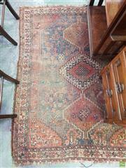 Sale 8634 - Lot 1059 - Antique Qashqai Wool Carpet, with triple medallion, scattered flower & animal motifs (worn)
