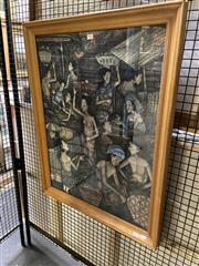 Sale 8906 - Lot 2051 - Balinese School Market Scene acrylic on cotton, 84.5 x 64.5 cm (frame, glass broken), inscribed NW. DY. MUKA lower left