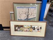 Sale 9028 - Lot 2050 - 3 Works: Fujita - Woods, 1975 168/200, F.Revey (?) - Woodstock, on paper, SLR &gnes Molnar - Domestic Scenes, SLR