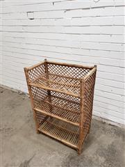 Sale 9059 - Lot 1088 - Cane Three Tier Open Shelf (H:91 x W:62 x D:35cm)