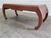 Sale 9071 - Lot 1011 - Oriental Carved Coffee Table with Glass Top (h:39 x w:100x d:45cm)