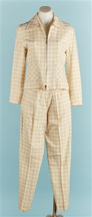 Sale 9071F - Lot 69 - AN L.A CITY CHECKERED PANT SUIT; comprising blazer and cigarette pants in yellow and cream, size S
