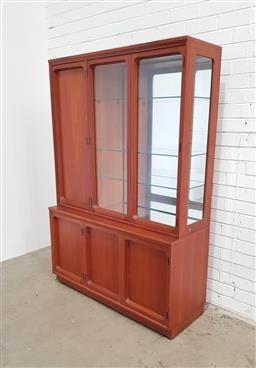 Sale 9112 - Lot 1010 - Chiswell glass front wall unit (h:173 w:177 d:44cm)
