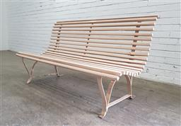 Sale 9142 - Lot 1046 - Iron & Timber Garden Bench, painted cream (H: 82 x W: 149 x D: 71 cm)