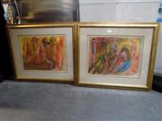Sale 8417T - Lot 2036 - Artist Unknown (2 works) - Abstracts, framed size: 32 x 42cm, each signed and dated lower
