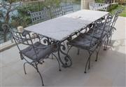 Sale 8470H - Lot 2 - An impressive Le Forge wrought iron outdoor 9 piece setting the table with white marble top, and associated cushions, H 78 x W 90 x...