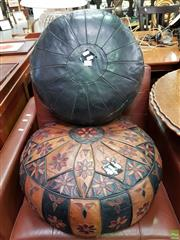 Sale 8580 - Lot 1049 - Pair of Leather Ottomans