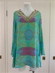 Sale 8694A - Lot 55 - A Camilla printed silk tunic blouse with a jewelled/stoned neckline, one size