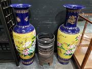 Sale 8889 - Lot 1007 - Pair of Large Cobolt Blue Chinese Floor Vases