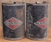 Sale 8984H - Lot 46 - Two large Blundell linseed oil cans. Height 45cm