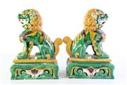 Sale 8989 - Lot 22 - Pair Of Tang Style Temple Dogs H:31cm