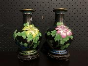 Sale 9034 - Lot 1015 - Pair of Cloisonne Vases on Timber Stands (H:18.5cm)