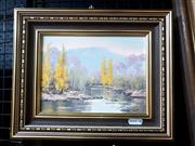 Sale 9061 - Lot 2030 - Norma Kett Ovens River, oil on canvas on board. frame: 22 x 27 cm, signed lower right