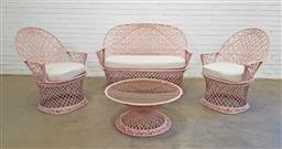 Sale 9151 - Lot 1003 - Russell Woodard spun fibreglass 4 piece patio suite incl  seater, 2 armchairs and side table in dusty pink (h:101 x w:142cm)
