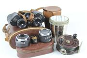 Sale 8432 - Lot 59 - Cased Binoculars with Other Wares incl. Vintage Fishing Wheel