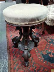 Sale 8576 - Lot 1017A - Victorian Carved Walnut Piano Stool, with padded seat & centre pedestal
