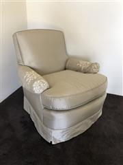 Sale 8782A - Lot 149 - Pair of lounge chairs upholstered in James Hare silk height 80cm x 82 x depth 84cm.