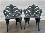 Sale 9085 - Lot 1050 - Pair of Good Australian Cast Iron Victorian Style Garden Chairs, by the Melbourne Aluminium and Iron Lacework foundry, in fern leaf...