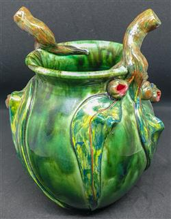 Sale 9093A - Lot 5075 - David Lyons - Harcourt Pottery vase (with twig handles, gum nuts and leaves) h. 19cm, d. 10cm