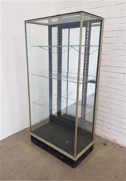 Sale 9142 - Lot 1007 - Early 20th Century Tall Chromed Shop Display Cabinet, with mirror panel door to back & glass shelves (H: 185 x W: 92 x D: 51 cm)