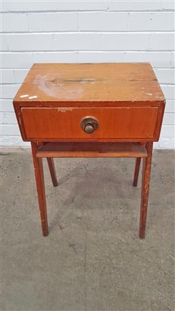 Sale 9157 - Lot 1036 - Timber single drawer bedside (h65 x w45 x d35cm)