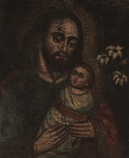 Sale 9170A - Lot 5048 - CUZCO SCHOOL St Joseph & Christ Child oil on canvas (re-lined) (AF) (unframed) 41 x 35 cm (irregular) unsigned