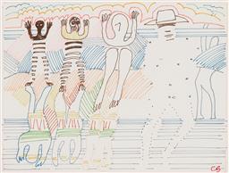 Sale 9221JM - Lot 5059 - CHARLES BLACKMAN (1928 - 2018) Mythical Figure, c1982 coloured felt tip pen on paper 20 x 27 cm (frame: 35 x 41 x 2 cm) signed lower...
