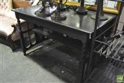 Sale 8368 - Lot 1068 - Ebonised Desk with Rattan to Sides