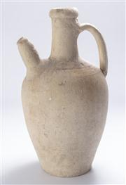Sale 8376A - Lot 95 - A large Chinese Earthenware water jug, hand sculpted,  W: 17cm,  Ht: 33cm