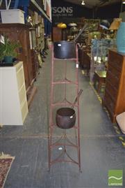 Sale 8390 - Lot 1278 - Cast Iron Pot Rack with 2 Pots