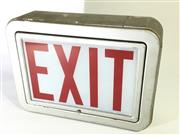 Sale 8600A - Lot 24 - Vintage exit sign/light in metal frame with glass lens c. 1940s, H 25 x L 34cm.