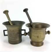 Sale 8645D - Lot 22 - Brass Mortar And Pestle Pair
