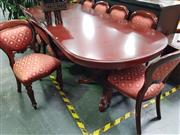 Sale 8672 - Lot 1009 - Mahogany Extension Dining table with 10 Chairs