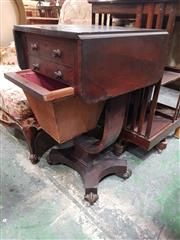 Sale 8774 - Lot 1006 - Early 19th Century Rosewood Work Table, with drop-leaves, two drawers & basket, on U shaped support & quadraform base (faults)
