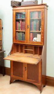 Sale 8795A - Lot 91 - An oak fall front secretaire bookcase, Height 2m, Depth 35cm , Width 87cm,