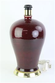 Sale 8802 - Lot 456 - A Red Crackle Glaze Table Lamp ( H 45cm)