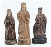 Sale 9087H - Lot 54 - Three Antique Santos figures, height of tallest 36cm